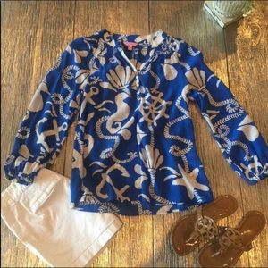 Lilly Pulitzer Elsa Silk Blouse Tide Blue